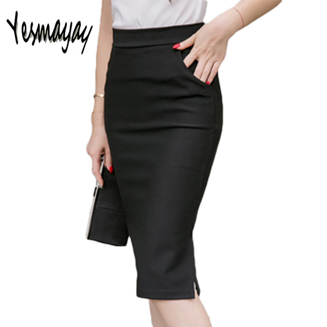 11abf08946 Autumn Spring Plus Size Sexy Office Skirt Women Elastic High Waist Maxi  Midi Skirts Faldas Long