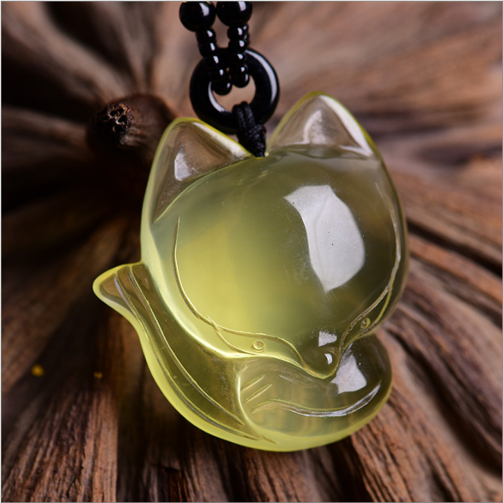 Natural C itrine Small Fox Pendeloque Woman Fox Necklace