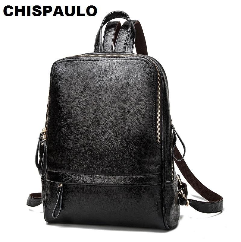 CHISPAULO Fashion Women Genuine Leather Kanken Backpacks For Teenage Girls School Bags Laptop Travel Women s