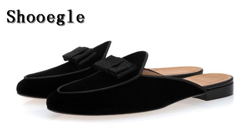 SHOOEGLE Newest Men Bow Tie Slip-On Flats Slippers Suede Handmade Shoes Luxury Smoking Mules Shoes Free Shipping Size 38-46SHOOEGLE Newest Men Bow Tie Slip-On Flats Slippers Suede Handmade Shoes Luxury Smoking Mules Shoes Free Shipping Size 38-46