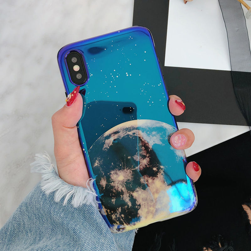 Fashion Blu-Ray Moon Planet Smooth Phone Case For iPhone X 6 6S Plus 7 7Plus 8 8Plus Fashion Retro Soft IMD Phone Back Cover image