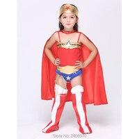 Halloween natal carnaval traje de super-heróis cosplay roupas garoto maravilha traje meninas 5 pcs macacão + capa