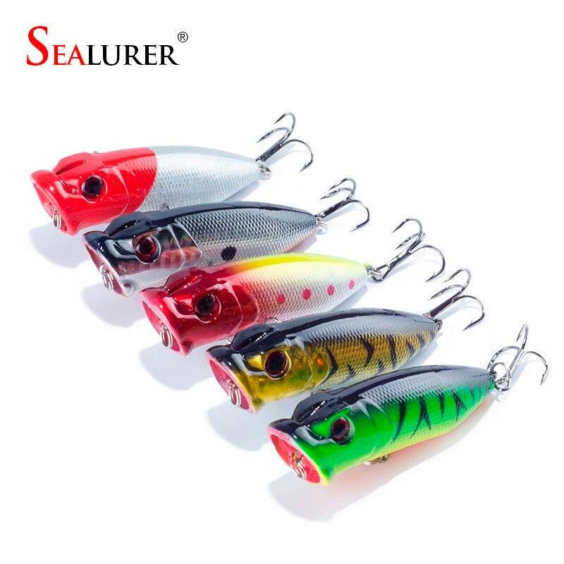 5Pcs/Lot Lifelike 3D Eyes 6.5CM 13G 6# Treble Hooks Fishing Lure Popper Plastic Floating Wobbler Artificial Hard Crank Bait lifelike earthworm style fishing baits 5 pcs
