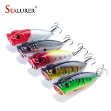5Pcs/Lot Lifelike 3D Eyes 6.5CM 13G 6# Treble Hooks Fishing Lure Popper Plastic Floating Wobbler Artificial Hard Crank Bait