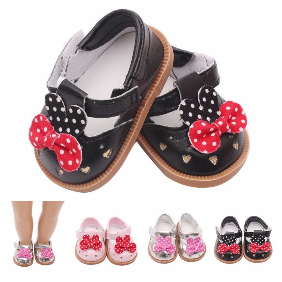 7 cm punto Bowknot negro/plata/Rosa zapatos de muñeca deporte americano PU zapato juguetes para bebés de 18 pulgadas accesorios para muñeca de bebé de 43 cm y Niña