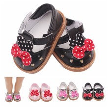 7cm Dot Bowknot Black/Silver/Pink Doll Shoes American Sport PU Shoe Baby Toys Fit 18 inch Girl and 43cm Baby Doll Accessories(China)
