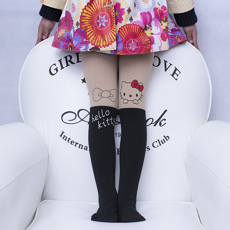 Hot! Brand Girl's Kids Splice Thick Baby Devil Cat Elastic Waist Tight Cotton Velvet Stocking Knitted Stitching Pantyhose P129