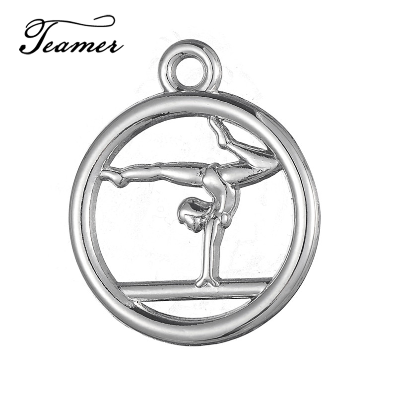 Teamer 10pcs Athletic Gymnastics Girl Charms Sport Jewelry