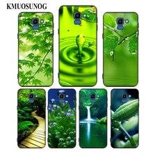 For Samsung Galaxy j8 j7 j6 j5 j4 j3 Plus Prime 2018 2017 2016 Black Silicone Phone Case Green natural cute plant Style