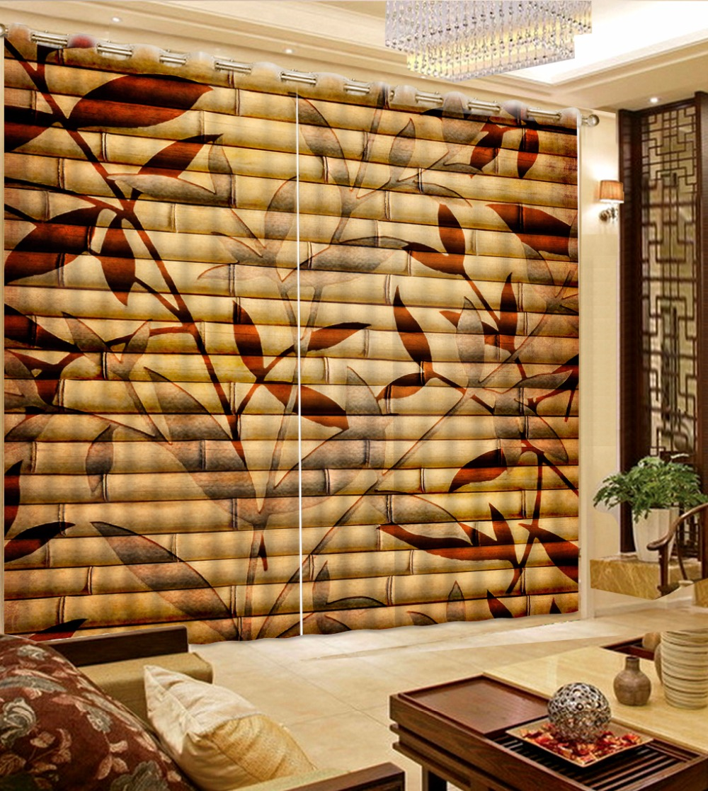 High Quality Classic Bamboo Curtains For Living Room Thickness Polyester  Curtain Photo Printing Kitchen Curtains