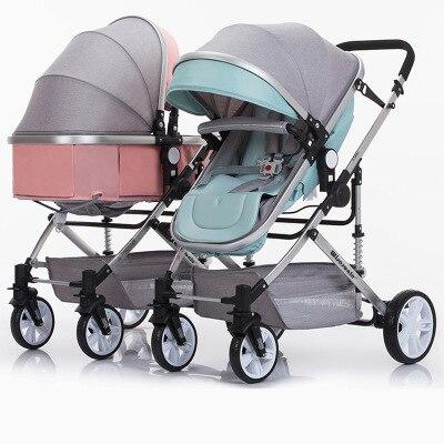 Nouveau style populaire poussette bébé buggy double jumeaux bébé poussettes nouveau-né landaus