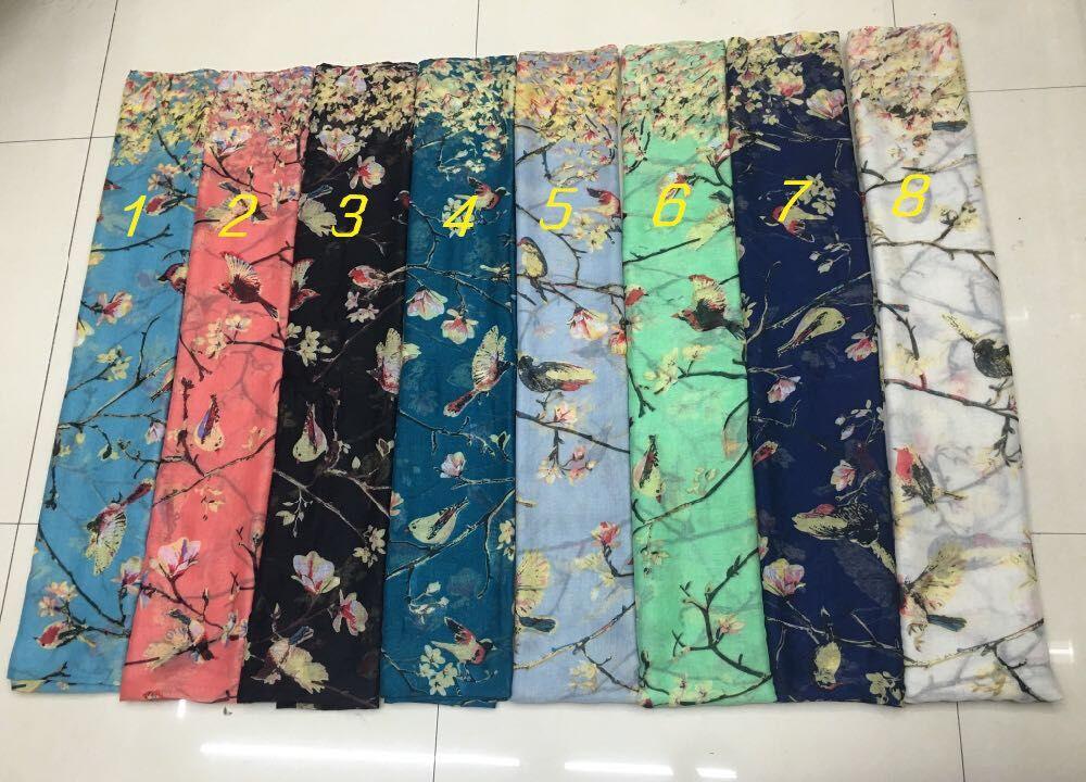 2015 m. Naujų moterų paukščių medžio spausdinimo šalikai, - Drabužių priedai