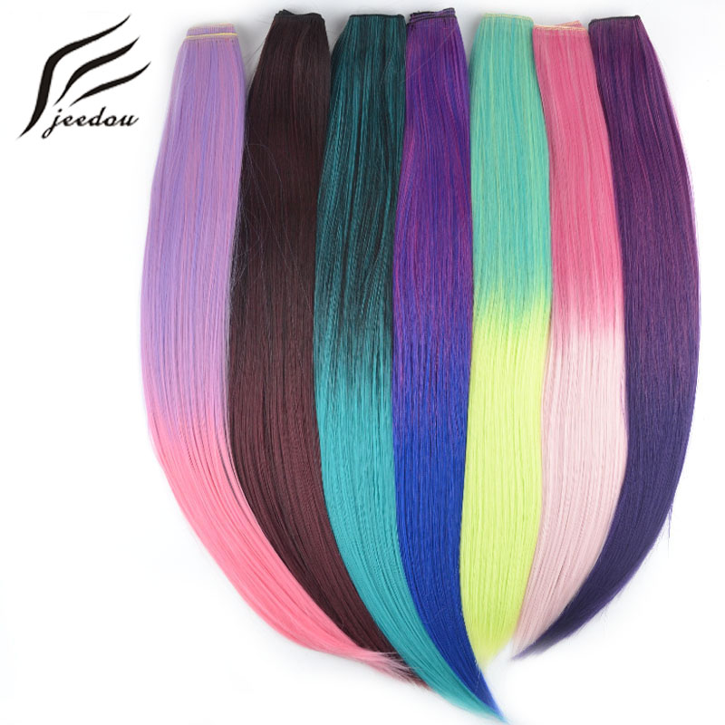 jeedou Synthetic Ombre Color Clip In Hair Extension Long Straight 24 60cm Rainbow Colors Natural Heat