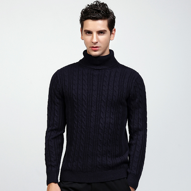 Turtleneck Mens Sweater Pullovers Knitwear Warm Red Black Youth Solid Double-Collar Student