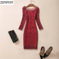 2018 Spring Womens Embroidery Elegant Vintage Embroidered Lace Casual Party Mother of Bride Special Occasion Bodycon Dress