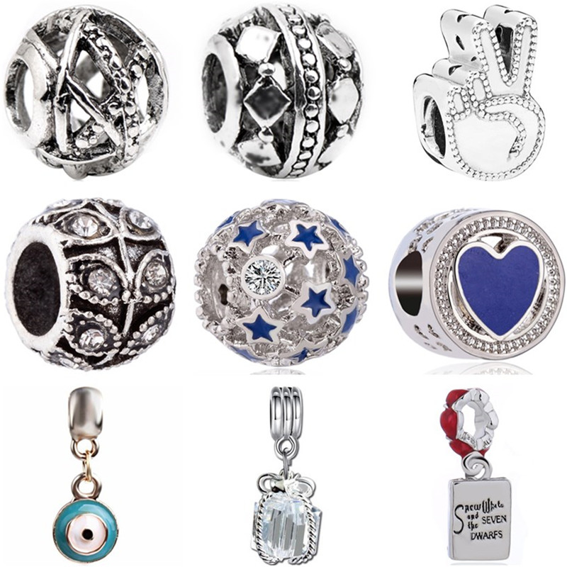 Heart Beads Necklaces Charms Jewelry Gift-Box Crystal Rainbow-Key Lips Evil Star Fit Pandora