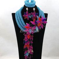 Sky Blue Wedding Necklace Set Nigerian Costume African Crystal Bridal Beads Jewelry Set Big Flower Pandent Free Shipping ALJ152