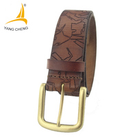 CNYANGCHENG Brown Belt 140cm Cow Genuine Leather Belt Fashion Wide Belt Brass Buckle Laser Embossing
