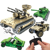 Military War brinquedos Remote Control Tank Blocks Technic Bricks Remote Control Toys RC Tank Model Building Blocks juguetes