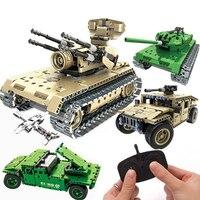 Military War brinquedos Remote Control Tank Blocks Technic Bricks Remote Control Toys RC Tank Model Building Blocks juguetes