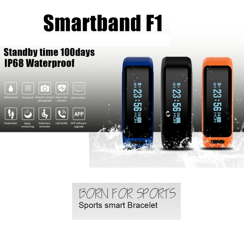 Waterproof Smart Bracelet Fitness Heart Rate Monitor Smart Watch 0 91 OLED Screen Bluetooth 4 0