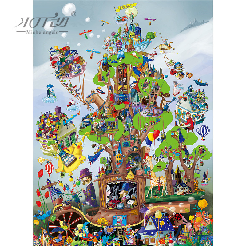Michelangelo Wooden Jigsaw Puzzle 500 1000 1500 2000 Pieces Love Carriage Cartoon Animal Kid Educational Toy Art Home Decor Gift