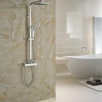 Недавно Ванная комната смеситель для душа Колонка двойной ручкой площади осадков Термостатический смеситель для душа Chrome