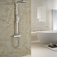 Newly Bathroom Shower Mixer Column Dual Handle Square Rainfall Thermostatic Shower Faucet Chrome Finished