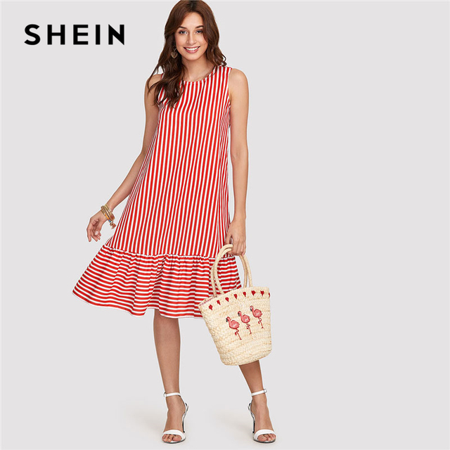 f02ab50c4826e SHEIN Red Pinstripe Ruffle Swing Dress Women Ruffle Round Neck Sleeveless  Drop Waist Loose Dress 2018 Summer Vacation Dress