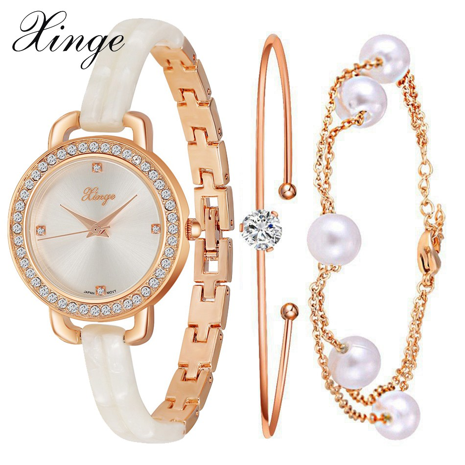 Xinge Brand Luxury Gold Bracelet Watches Set Fashion Women Crystal Quartz Watches Ladies Dress Jewelry Electronic Watch Clock xinge watch women brand rose gold white women japan movt big watches bracelet wristwatch set dress women ladies quartz watches