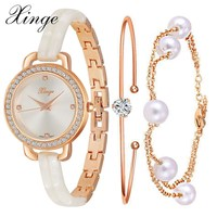 Xinge Brand Luxury Gold Bracelet Watches Set Fashion Women Crystal Quartz Watches Ladies Dress Jewelry Electronic