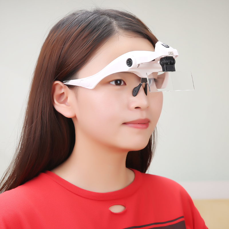 Eye Repair Tool 5 Lens Adjustable Loupe Head Magnifier LED-Lighted Headband Loupe 1.0X 1.5X .2.0X 2.5X 3.5X for Repairing