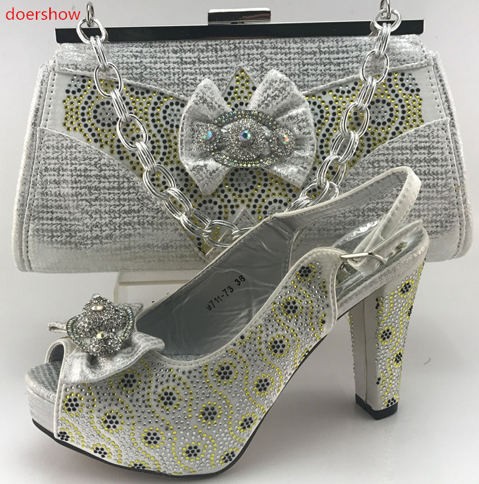 doershow Good Quality African Party Shoes And Bag Rhinestone Woman Sandals Heels Matching Bag for wedding WI1-16 doershow women slipper elegant african women sandals shoe for party african wedding low heels slip on women pumps shoes abs1 5