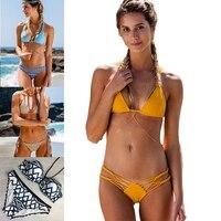2017 New Sexy Mini Micro Bikini Brazilian Bikini Push Up Swimwear Women Swimsuit Solid Bikini Set
