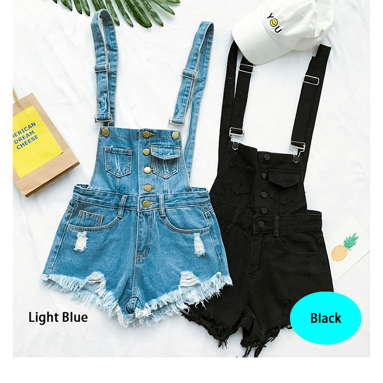 2017 New South Korea loose cowboy straps pants summer students high waist holes burr pants pants shorts tide (4)