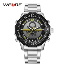 WEIDE Men Sport Military LCD Display Back Light Stopwatch Luminous Analog Quartz Analog Day Stainless Steel Band Day Wrist Watch