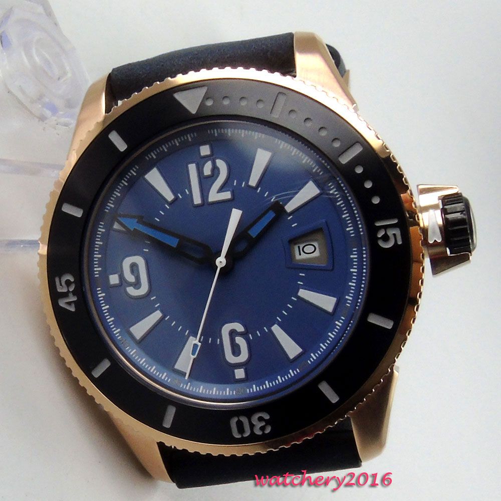 цена 43mm Bliger Blue dial Rose Golden Case Top Brand Luxury Date Window miyota Automatic Movement Men's Mechanical Wristwatch онлайн в 2017 году