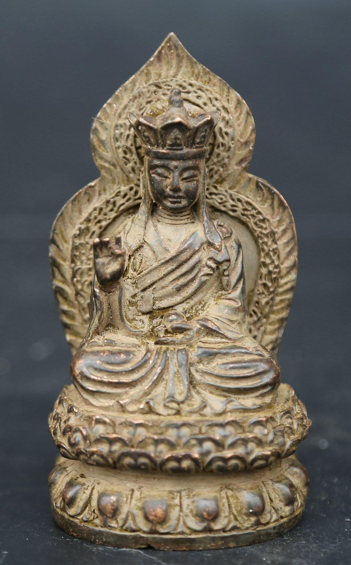 85 мм/3,3 Коллекция Античная китайская бронза изысканный буддизм Ksitigarbha статуя Будды Бодхисаттва 155 г