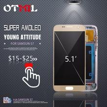5.1 100% Super AMOLED For SAMSUNG GALAXY S7 LCD Display Touch Screen Digitizer with Frame G930A G930F SM-G930F For S7 Display#1 аксессуар чехол samsung galaxy s7 g930f mofi vintage black 15104