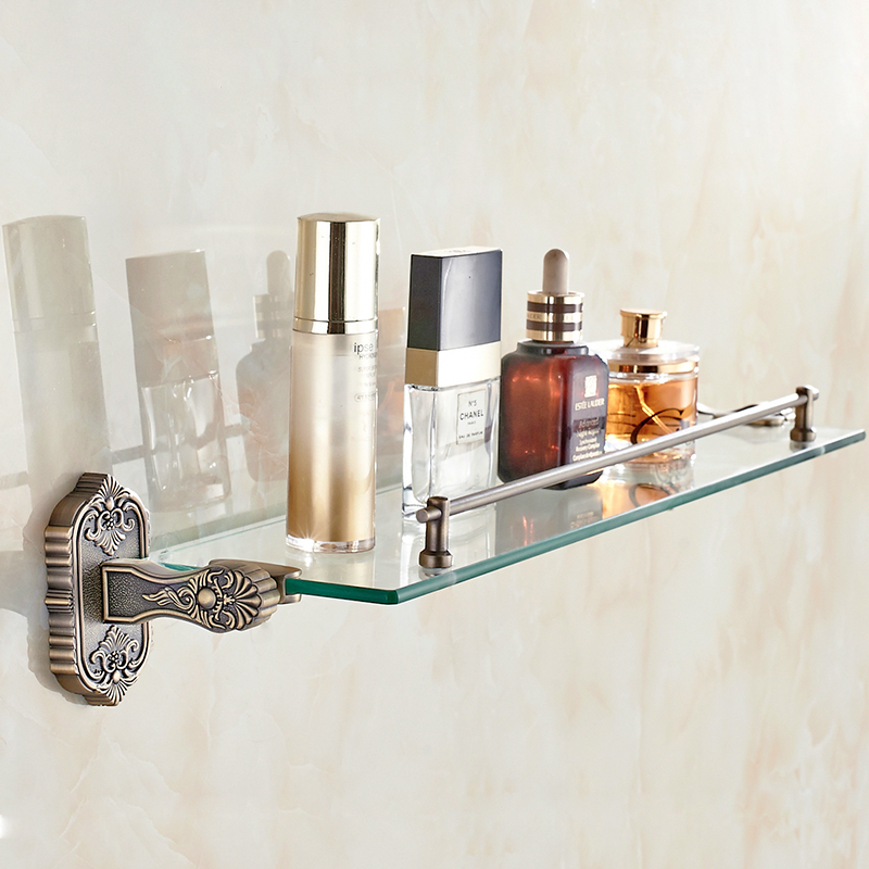 цены Bathroom Shelves Wall Mounted Glass Shelf For Shower Bathroom Storage Holder Bathroom Shelf Bathroom Accessories 3313