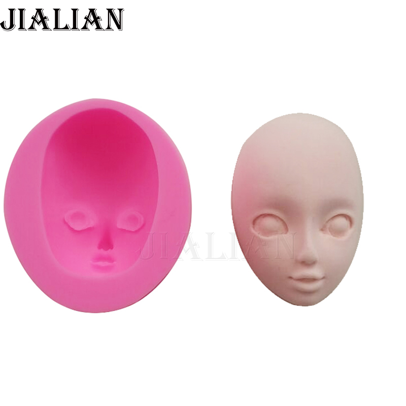 Baby Face Silicone Mold Girl Gum Paste Mold Cake Decorating Clay Resin Soap Moulds Chocolate Cake Molds Candy Fimo T-947