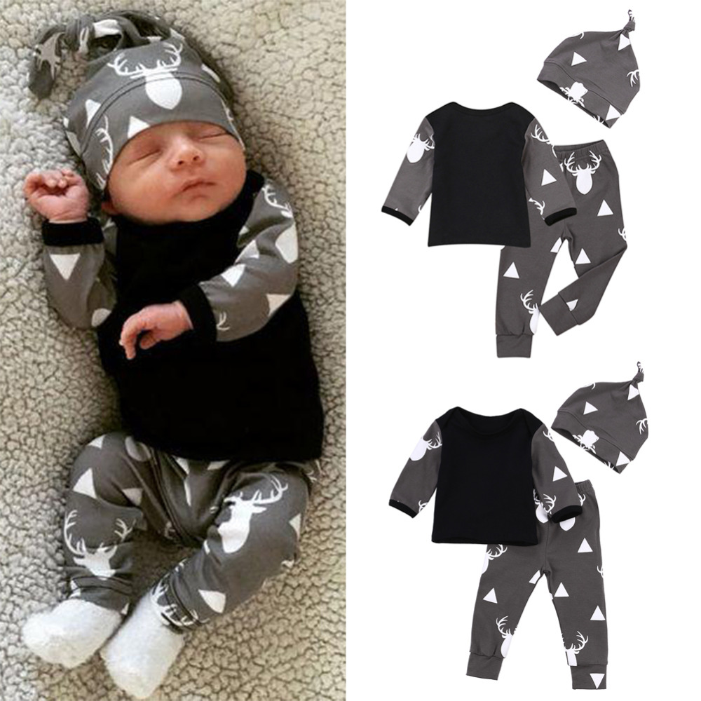 3PCS Baby Clothes Set Newborn Baby Girls Boys Deer Print Long Sleeve Tops Autumn T-shirt+Pants+Hat Outfits pijamas infantil Set 2pcs newborn baby boys clothes set gold letter mamas boy outfit t shirt pants kids autumn long sleeve tops baby boy clothes set