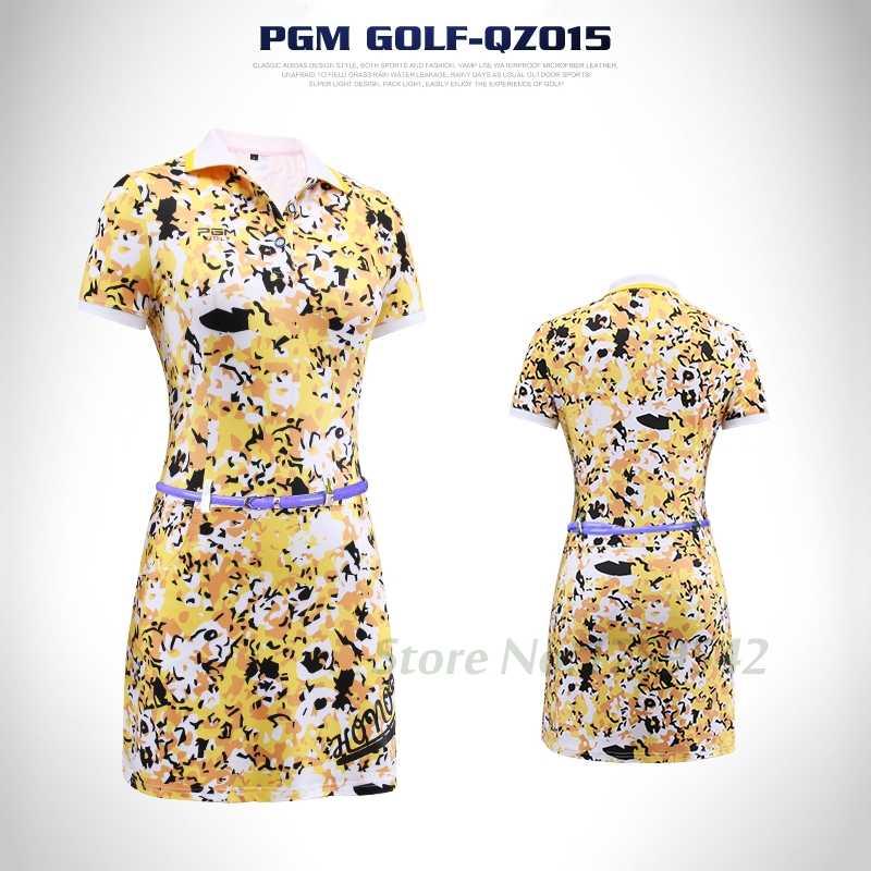 2017 najnowszy kobiet Golf sukienka lato Golf odzież kwiatowy Print koszulka polo z krótkim rękawem sportowe sukienka 86% poliester 14% elastan