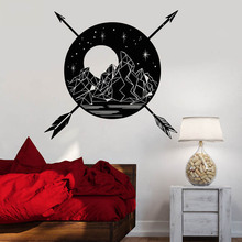 Vinyl Art Wall Decals Mountains Moon Arrows Star Landscape Wall Sticker Bedroom Livingroom Decoration Beauty Poster Mural W329 цена