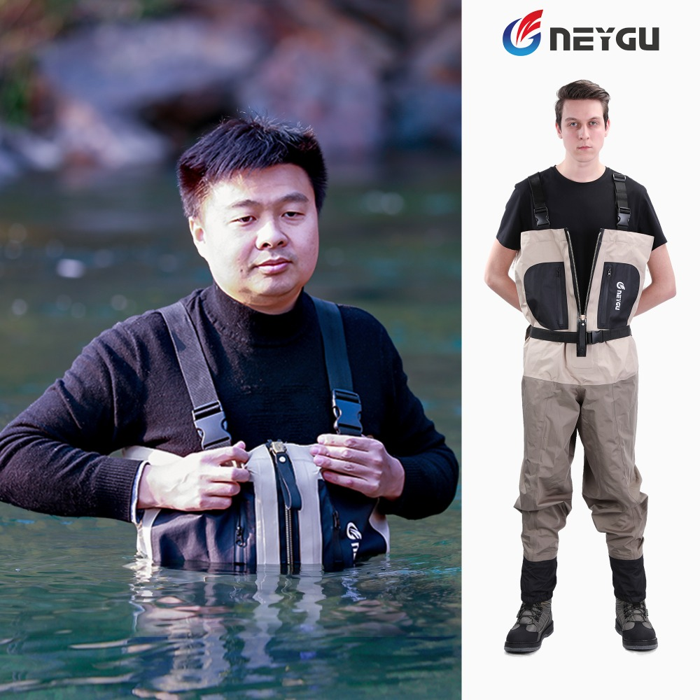 NEYGU waist high waterproof breathable Overalls fishing waders with Reach through hand warmer pocket for men