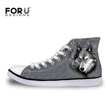 FORUDESIGNS Fashion Mens Casual Shoes 3D Animals Wolf High Top Shoes,Pet Dog Husky Printed Flats Man Canvas Shoes Male Footwear