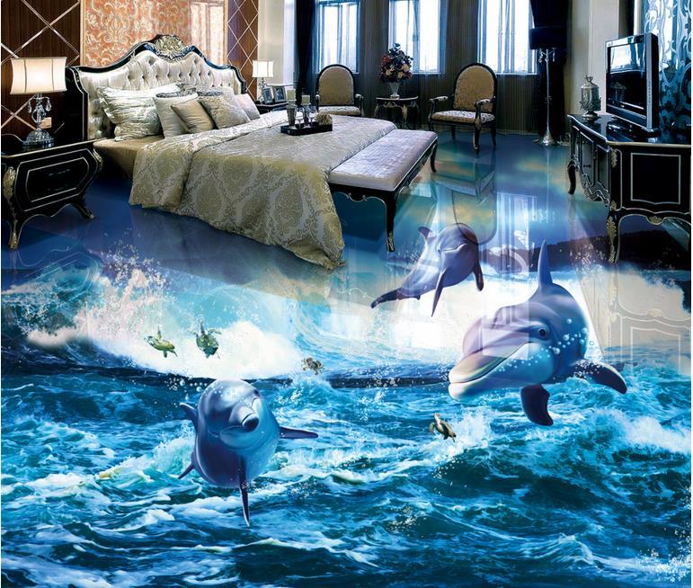 3D plancher vagues océan fonds d'écran pour enfants chambre papier peint Pvc auto-adhésif 3D sol peintures murales vinyle papier peint