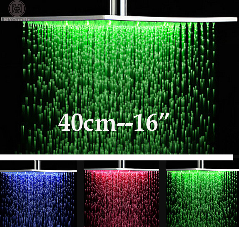 Poli Chrome En Laiton LED 16 Tête De Douche Grand Précipitations Carré de Douche Changement de Couleur