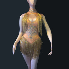 Sexy Sparkly Gold Tassel Bodysuit Rhinestones Outfit Glisten Beads Costume One-piece Dance Wear Singer Jumpsuit Stage Dresses