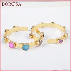 Image 4 - BOROSA Mix Colors tiny druzy bangle colorful 7 stones Crystal  druzy bracelet bangle fashion jewelry gems for women G1098